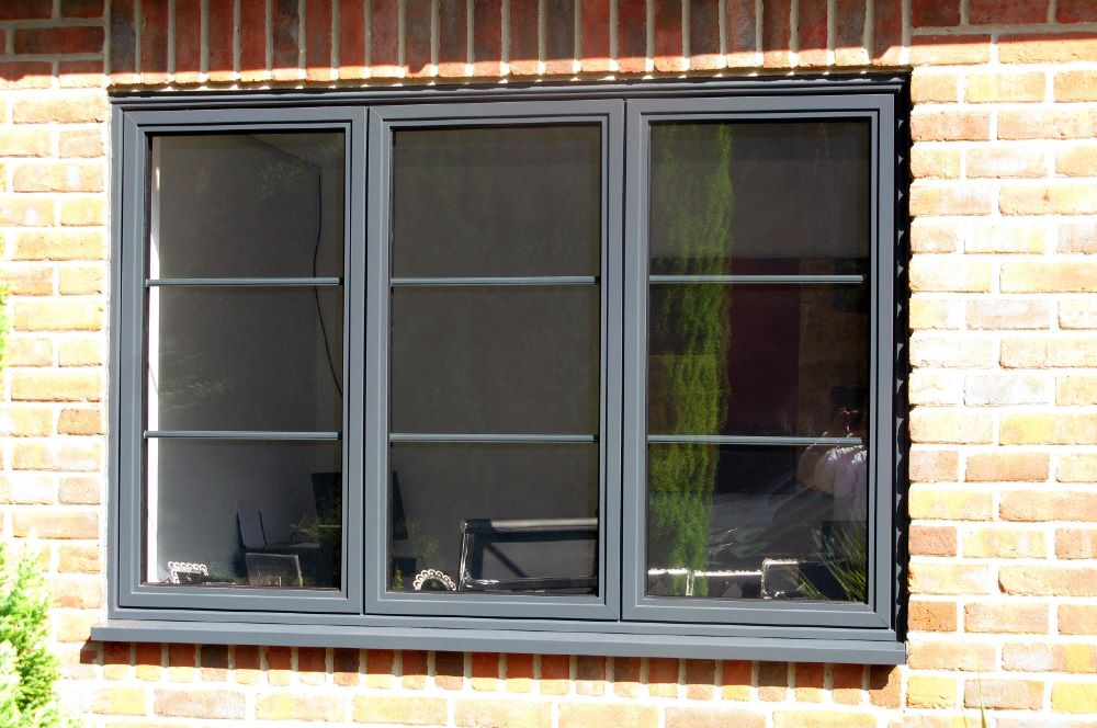 Grey aluminium window