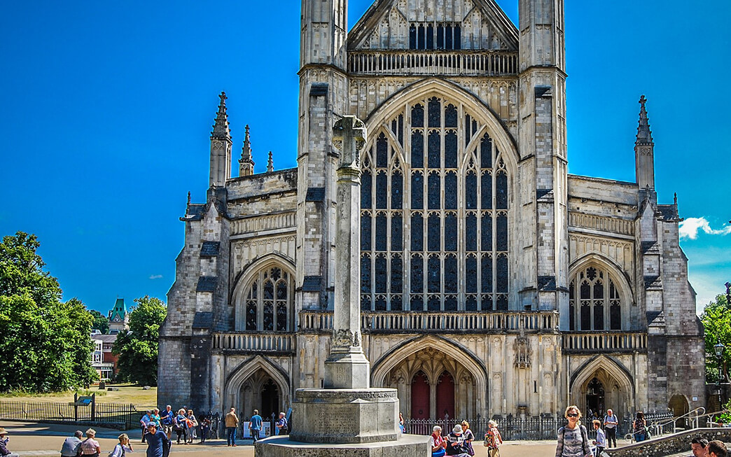 The front of Winchester Cathedral